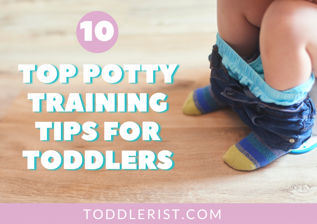 toddler sitting on potty with words overlay 10 top potty training tips for toddlers